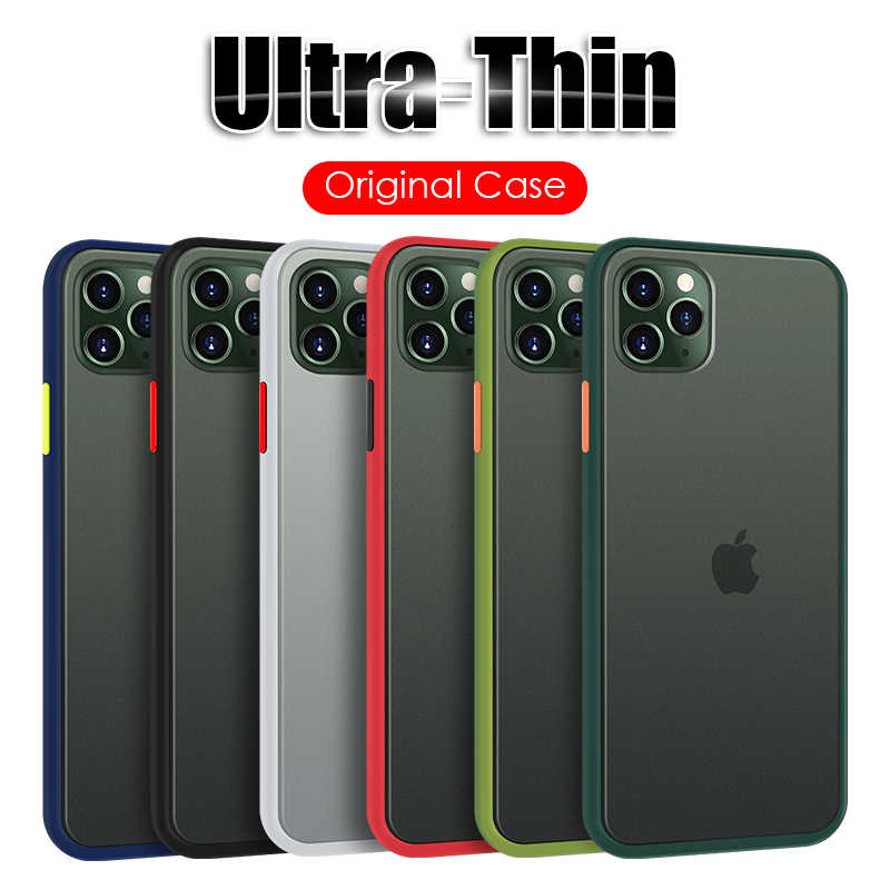 Mewah Lembut Silicone Bumper untuk iPhone 11 Pro X XR X Max 6 6 S 7 7 Plus transparan Matte Back Cover Shockproof Case