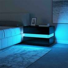 Bedroom Nightstand Magazine-Tables Cabinet-Storage Home-Furniture RGB LED