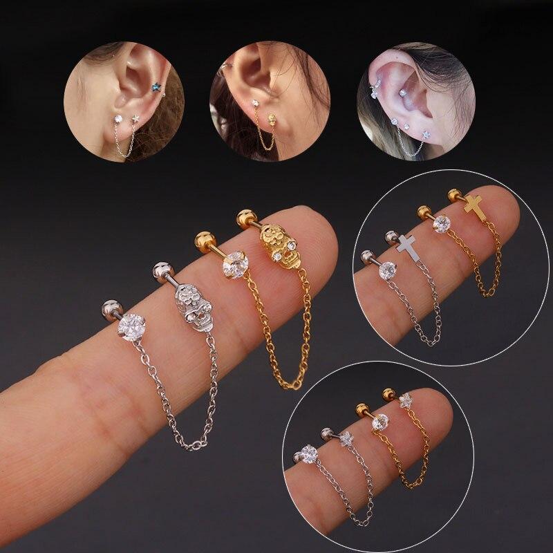 1Pc 1.2*6mm 5 Shape Zircon Gem Tassel Earrings Helix Piercing Tragus Piercing Oreja Nose Ring Ear Piercing Body Jewelry Women