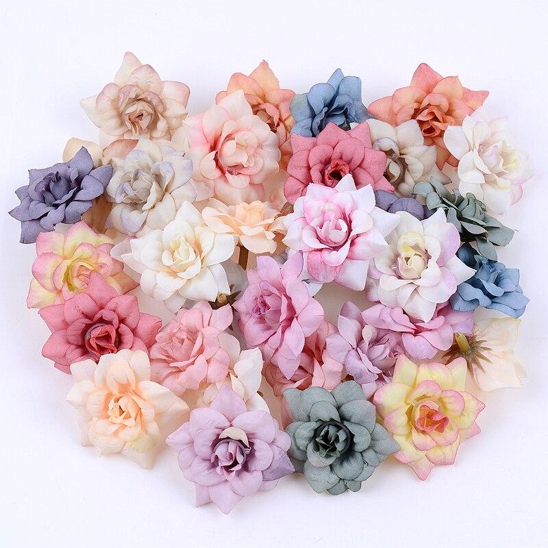4.5CM 10PCS/Lot Rose Artificial Flower Head DIY Wedding Home Decor DIY Wreath Bos Gift Bride Mariage Decoration Fake Flowers