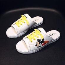 Sandales en cuir avec dessin animé Mickey mouse pour dames, sandales à la mode, sauvage et décontracté, pour le nouvel été 2021