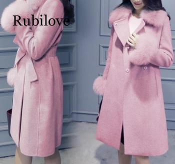 New Fashion Women Long Jacket Autumn Winter Warm Sashes Woolen Coat Parka Female Large Faux Fur Collar Jacket Outwear