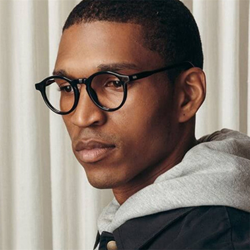 Vintage Anti-blue Light Black Round Eyewear Frame Women Retro Eye Glasses Frame Men Clear Lens Spectacles Eyepiece Unisex Shades