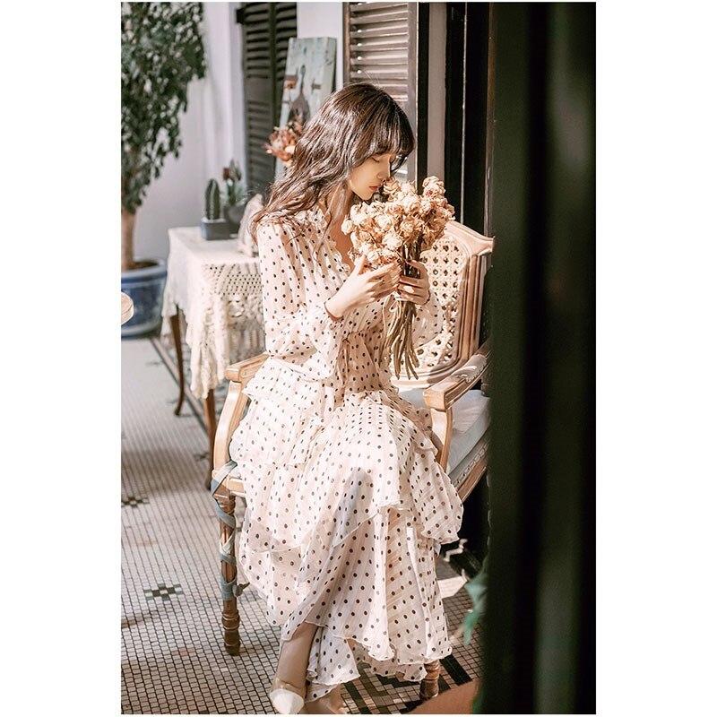 Printemps automne femmes fée fête en mousseline de soie robe col en V gâteau volants Maxi longue robe décontracté lanterne manches en mousseline de soie robe Vestidos