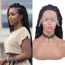 Long Synthetic wigs Senegalese Twist Braided Lace Front Wigs Twist Heat Resistant Fiber Natural Looking Wigs For Black Women
