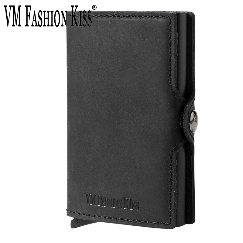 Custom Fathers Day Gifts Genuine Leather RFID Blocking Minimalism Wallets Automatic Nederlands Card Wallet Cardholde LuxuryCard & ID Holders   -