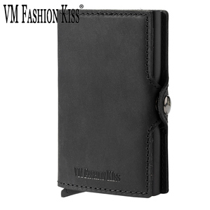 Image 1 - VM FSAHION KUS Lederen RFID Blocking Minimalisme portefeuilles Automatische Pop up Mini card wallet leather Card Wallet Cardholde