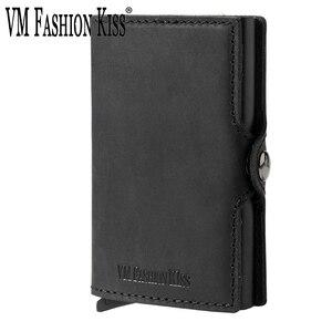 Image 1 - VM FSAHION قبلة جلد طبيعي RFID حجب بساطتها محافظ التلقائي المنبثقة البسيطة بطاقة محفظة جلدية بطاقة محفظة Cardholde
