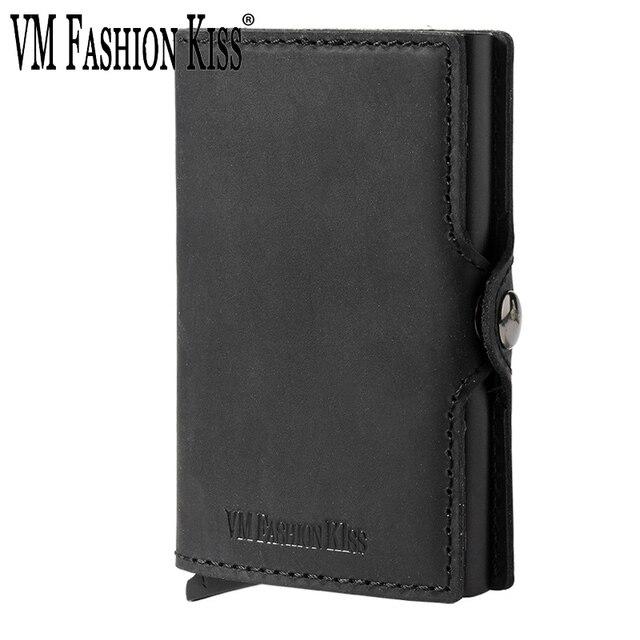 VM FSAHION قبلة جلد طبيعي RFID حجب بساطتها محافظ التلقائي المنبثقة البسيطة بطاقة محفظة جلدية بطاقة محفظة Cardholde