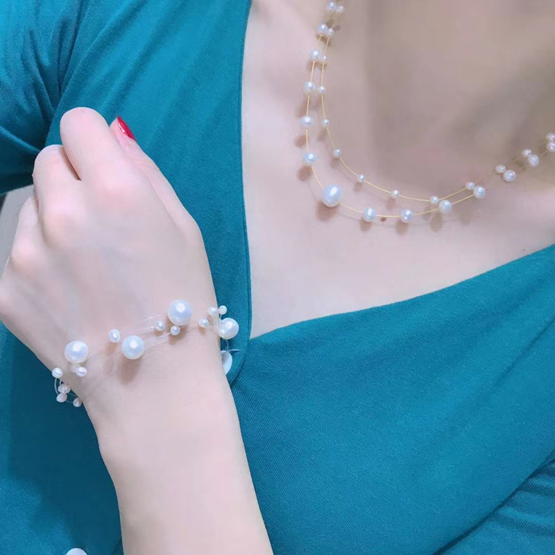 hot sell double rows natural white genuine pearl starry necklace bracelet bangle set adjustable can customzie length wedding