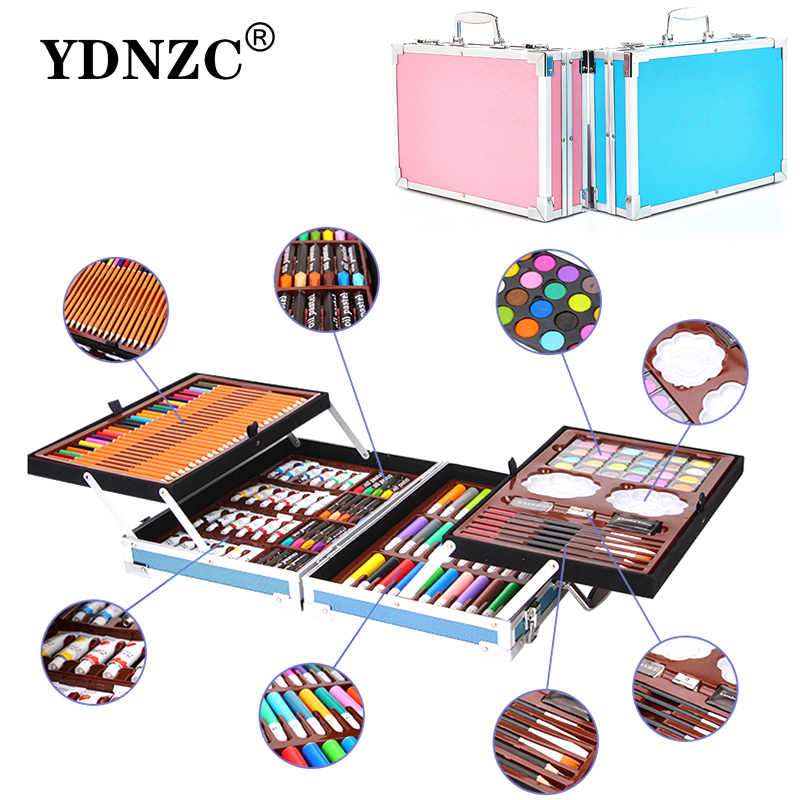 Portable Aluminum Alloy Suitcase Solid Watercolor Paint Oil Paints Water Color Pen Colored Pencil For Painting Gift Set Supplies