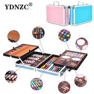 Image 1 - Portable en alliage daluminium valise solide aquarelle peinture à lhuile peintures à leau couleur stylo crayon de couleur pour peinture cadeau Set fournitures