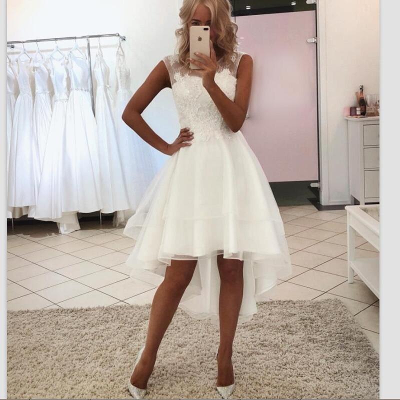 Sexy Simple courte plage robe de mariée haute basse vestido de noiva pas cher robes de mariée 2019 trouwjurk dentelle suknia slubna