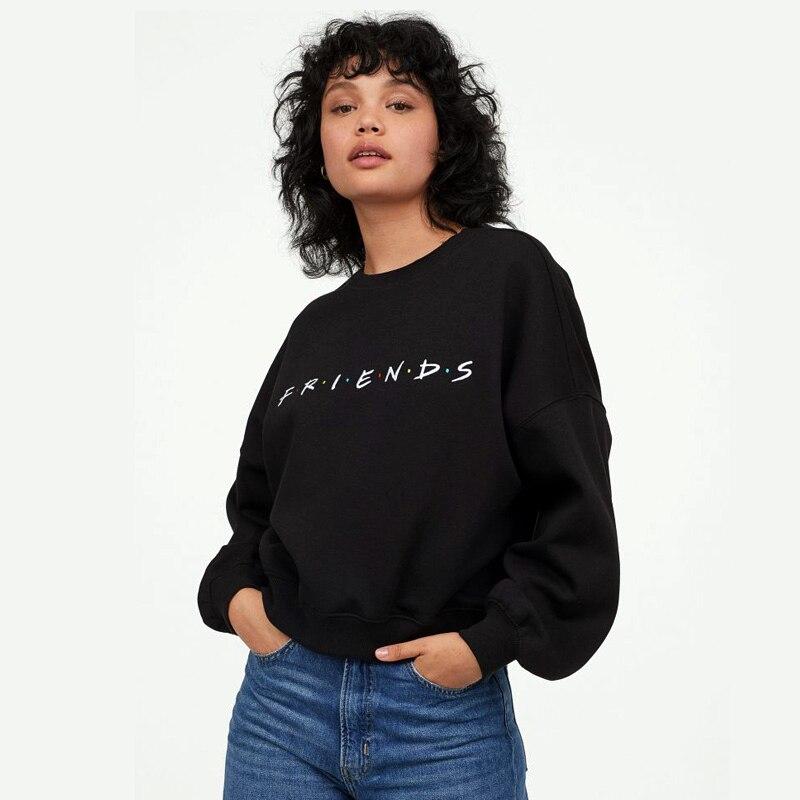 Autumn Sweatshirts Womens Hoody Fashion FRIENDS Print Long Sleeve Winter Tunic Letter Pattern Black Femme Blusas Tops Clothes