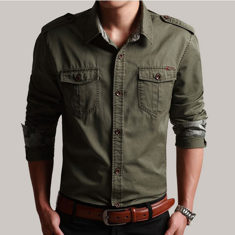 Spring Autumn Men's Slim Long Sleeve Cotton Cargo Shirt Outdoor Training Hiking Climbing Sports Military Tactical Shirts Tops
