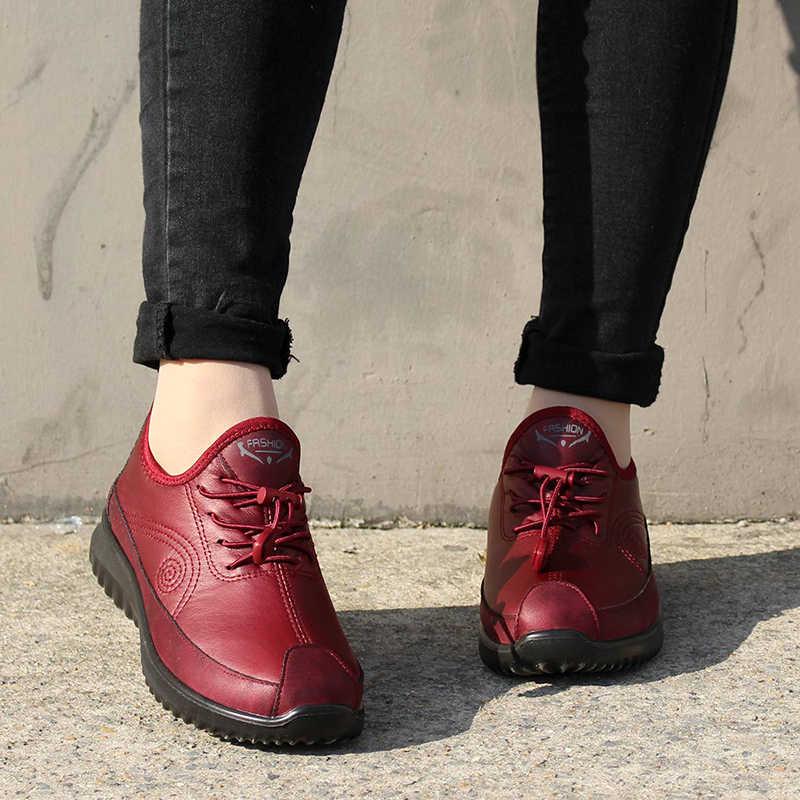 Mcckle mulheres inverno sapatos planos mulher couro plutônio rendas até sapatos de mãe feminino casual de pelúcia quente macio das senhoras