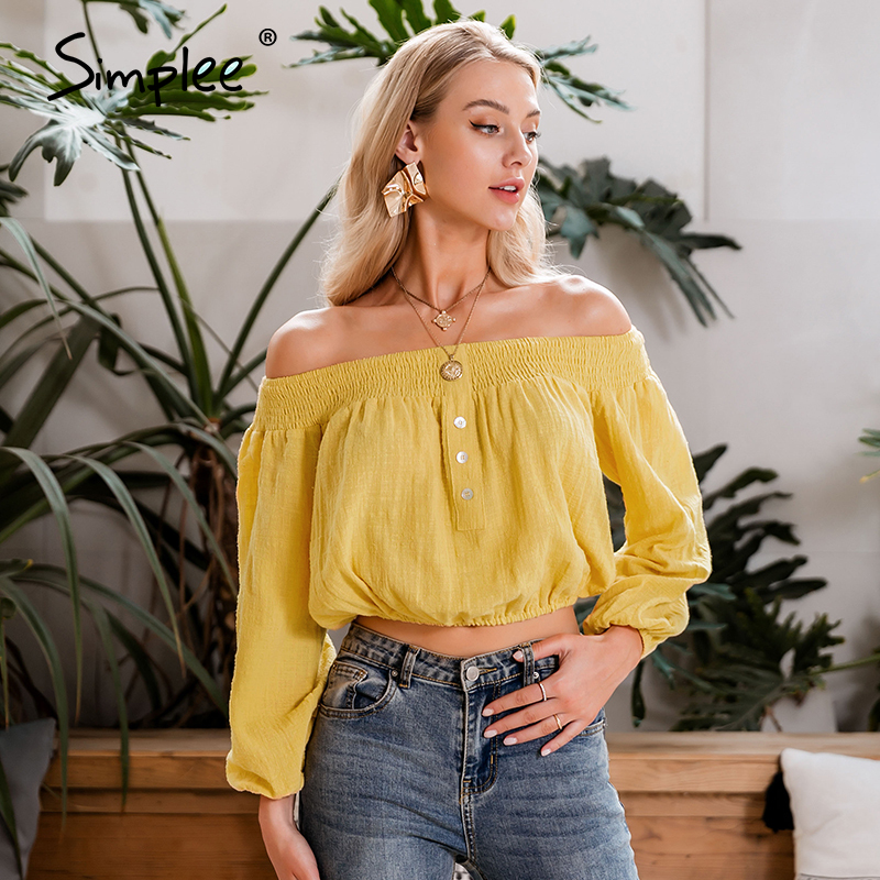 Simplee Vintage Yellow Solid Women Blouse Shirt Off Shoulder Crops Tops And Blouse Sexy Summer Holiday Long Sleeve Shirts Top