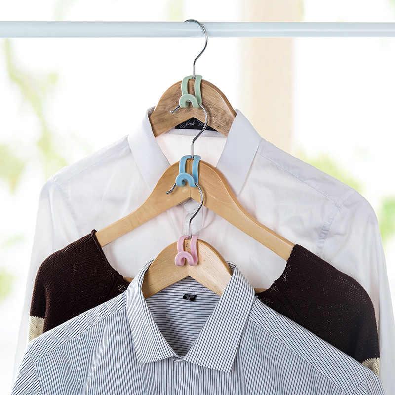 5Pcs Creativo Mini Vestiti Gancio di Plastica A Casa Un Facile Gancio Closet Organizer Rack di Stoccaggio Supporto Del Gancio di Vestiti FAI DA TE Gancio