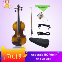 4/4 Full Size Acoustic EQ Electric Violin Fiddle Kit Solid Wood Spruce Face Board with Bow Hard Case Shoulder Rest Audio Cable