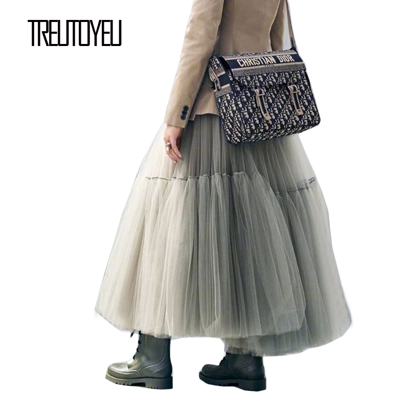 2020 Super Fashion Runway Maxi Long Pleated Skirts Luxury High Density Soft Tulle Skirt Free Size In All Colors L90