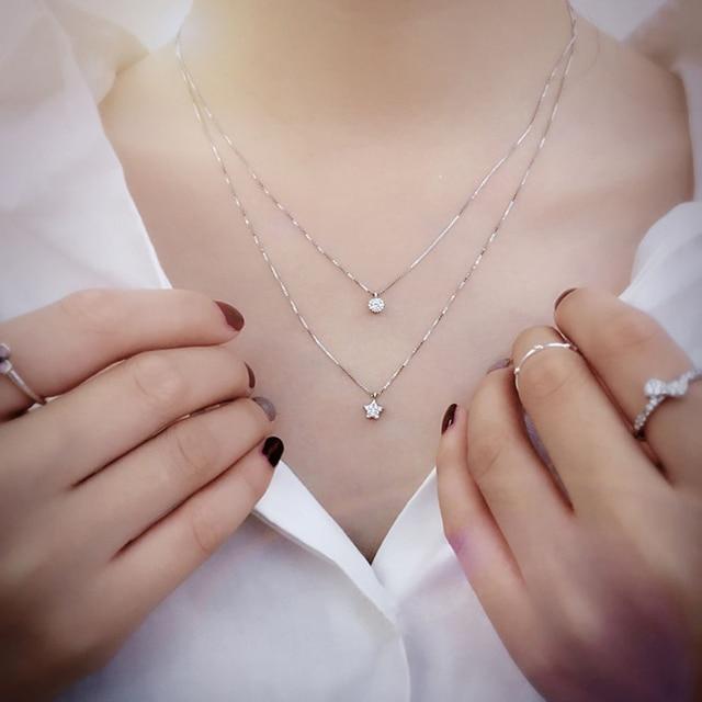 Фото женское двухслойное ожерелье из стерлингового серебра 925 пробы