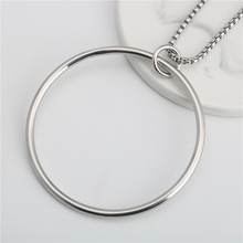 Stainless Steel necklaces for men necklaces for women valentines day gift punk Large ring square wire ring pendant necklace scrotum pendant top stainless steel penis ring chastity devices restraint pendant scrotum ring cock ring sex toy for men b2 85