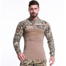 Camiseta táctica de camuflaje, camisa de combate militar de asalto de manga larga, ropa transpirable del ejército para caza, pesca y al aire libre