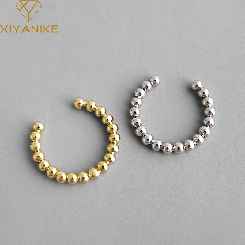 XIYANIKE Fashion 925 Sterling Silver Finger Ring For Women Creative Geometric Round Beads Party Accessories Jewelry Adjustale