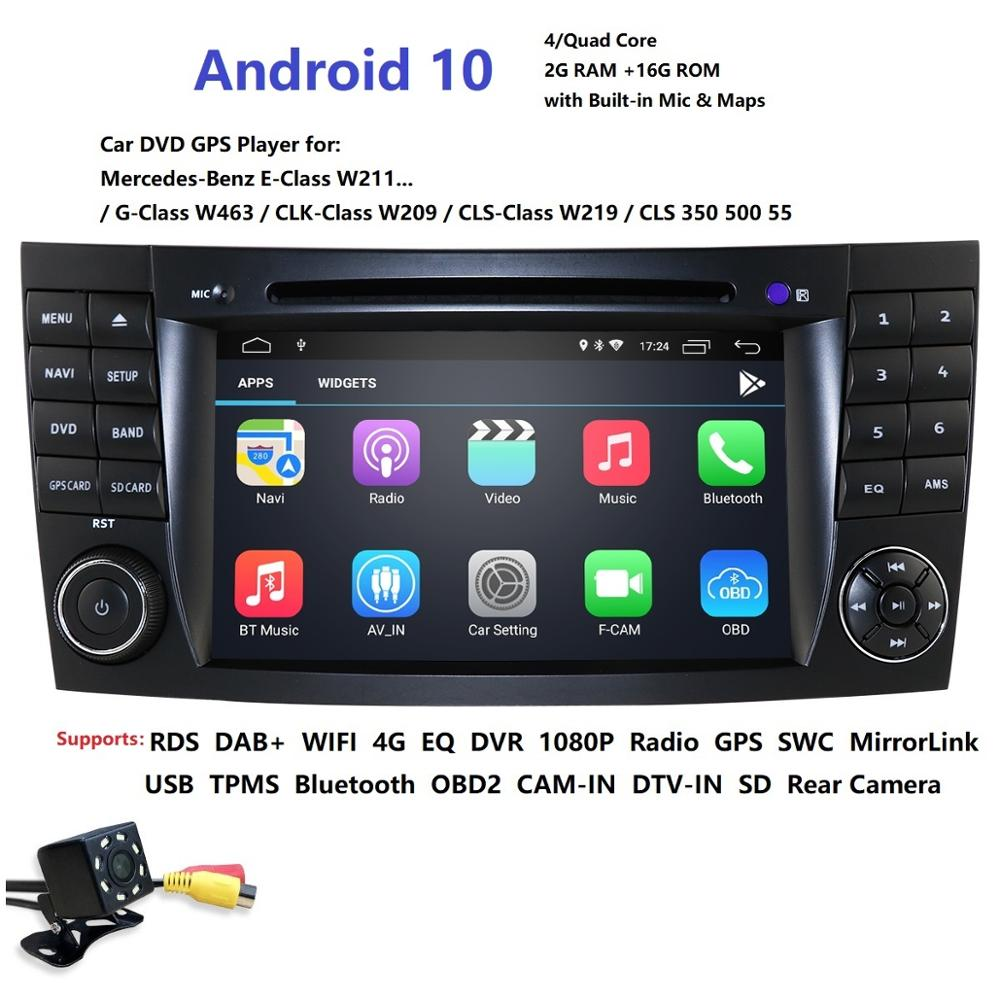 HD 1024*600 Touch Screen Car DVD Player for <font><b>mercedes</b></font> <font><b>w211</b></font> Android 10 multimedia W209 W219 4G WIFI Radio Stereo <font><b>GPS</b></font> DVR RDS DAB+ image