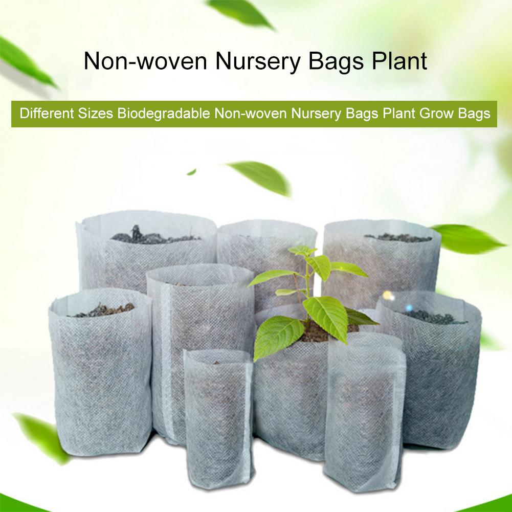 100PCS Non-woven Nursery Bags Plant Grow Bags Fabric Seedling Pots Eco-Friendly Aeration Planting Bags For Home Garden