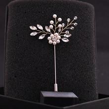 TRiXY XZ09 Pearls Bridegroom Boutonniere Pearls Jewelry Silver Brooch Beaded Fashion Brooch Pin Women Girl Pearls Wedding Brooch