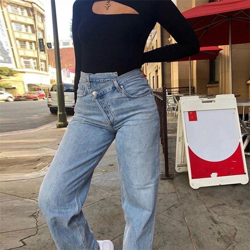 2019 Fashion Women Blue Loose Zipper Straight Pants Mid Casual Asymmetric Waist Jeans Full Length Pockets Denim Pants
