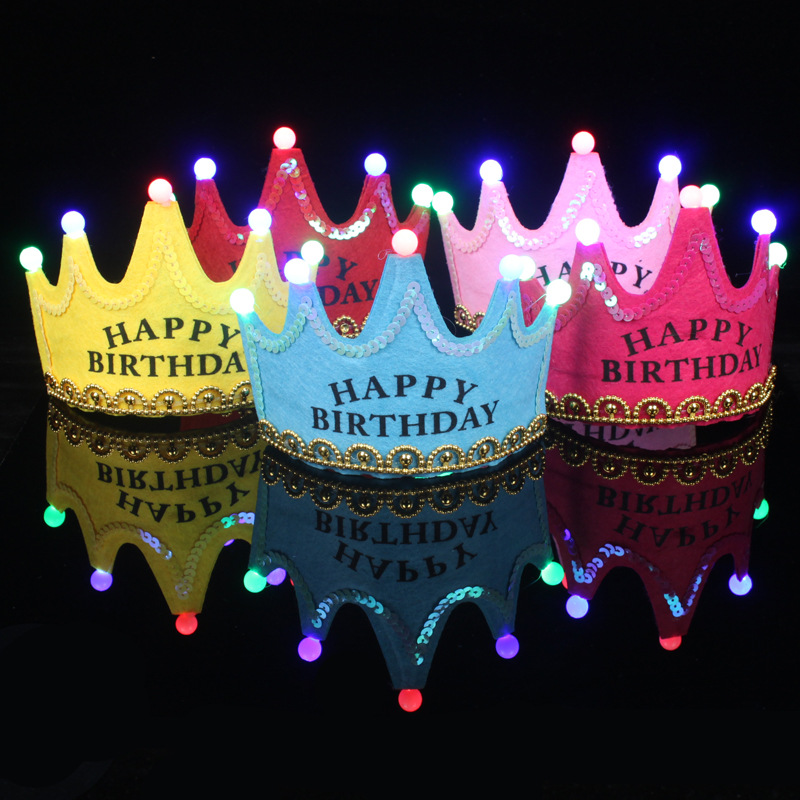 Children Birthday Party Kids Toys Children's Crown Decoration Paper Hat Holiday Colorful Lights Birthday Toy Hat Luminous Toy