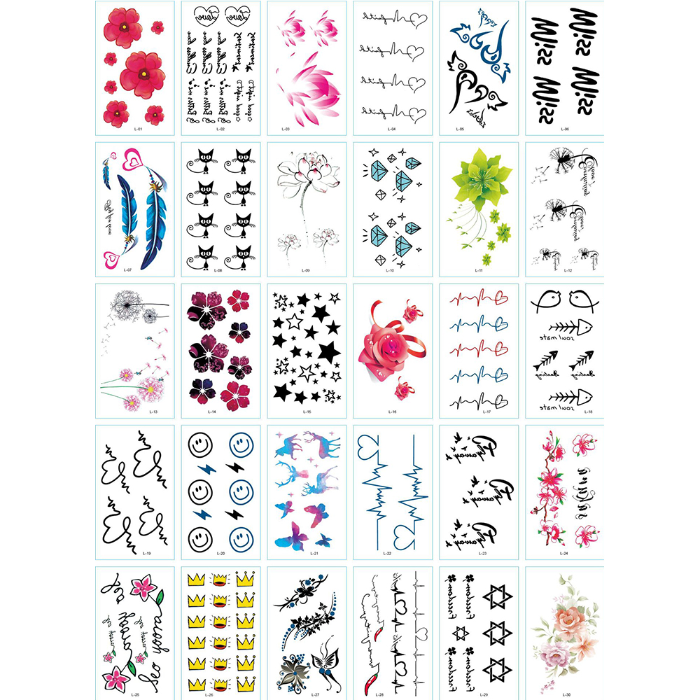 Temporary Tattoo Stickers Various Designs Removable Waterproof Tattoos Body Art Sticker Sheet Paper Wings Letters Stars Queen