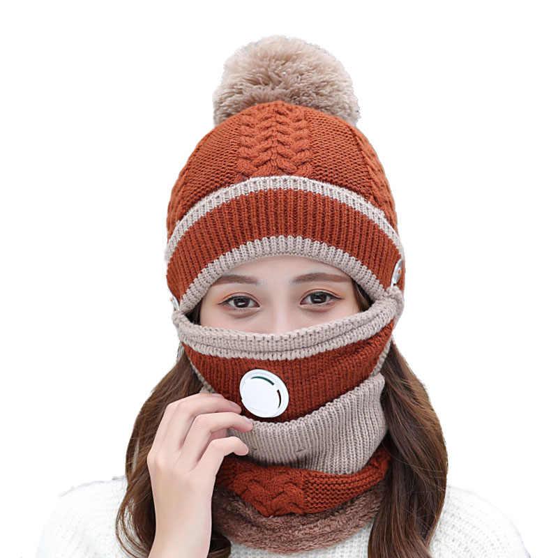 세트 3 다양 한 착용 비 니 모자 여성 겨울 따뜻한 두꺼운 통기성 니트 Skullies Beanies 모자 여성 마스크 귀 보호자 모자