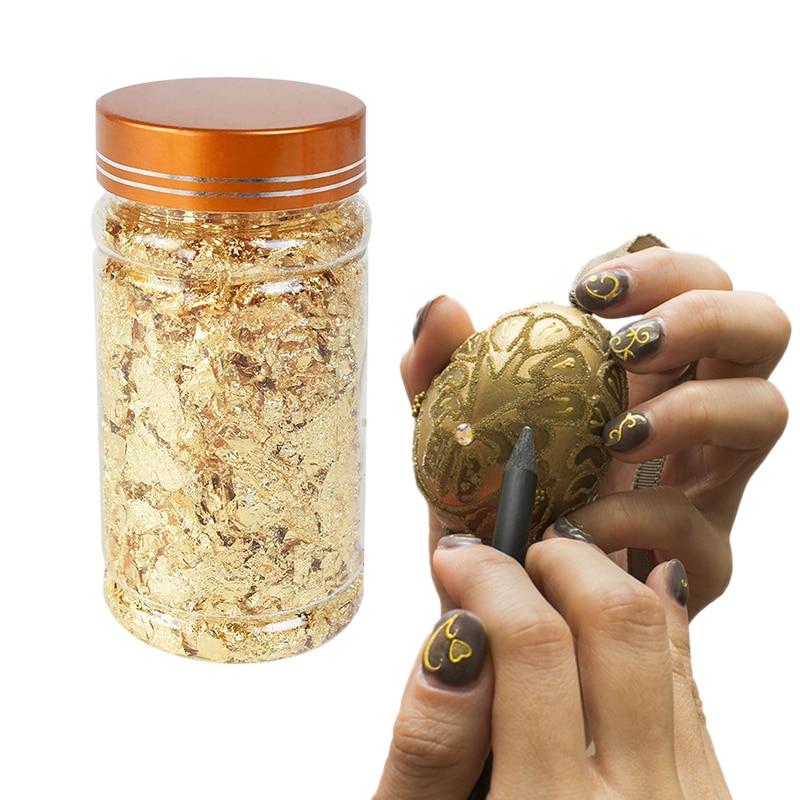3g/bottle Золотой Серебряный медный лист Чешуйчатый подлинный