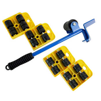 5PCS Furniture Lifter Heavy Furniture Roller Move Tool Set Professional Wheel Bar Mover Sliders Transporter Kit Trolley