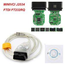 V14.30.023 para toyota minivci j2534 com ftdi ft232rl/rq obd obd2 ferramenta de diagnóstico do carro cabo do varredor automático