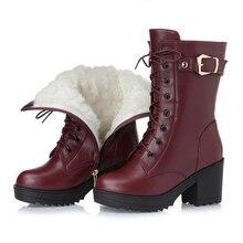 Buty zimowe na wysokim obcasie z prawdziwej skóry damskie grube wełniane ciepłe buty wojskowe damskie wysokiej jakości kobiece śniegowce K25
