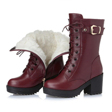 High heeled genuine leather women winter boots thick wool warm women Military boots high quality female snow boots K25