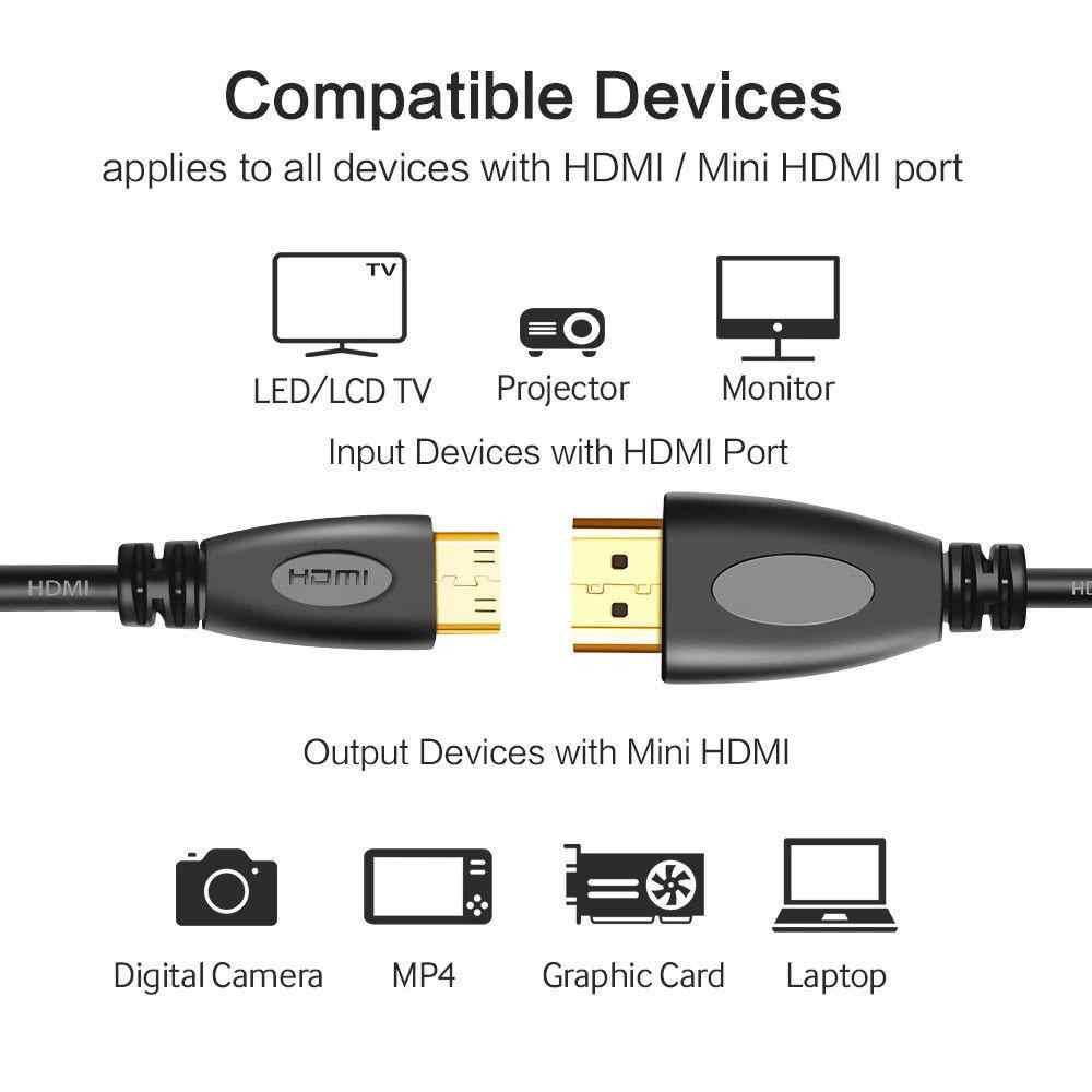 3 6 10 15 füße High-Speed 4K HDMI Kabel Adapter Volle HD 1080P Typ A Stecker HDMI Zu Typ C Männlichen Mini HDMI
