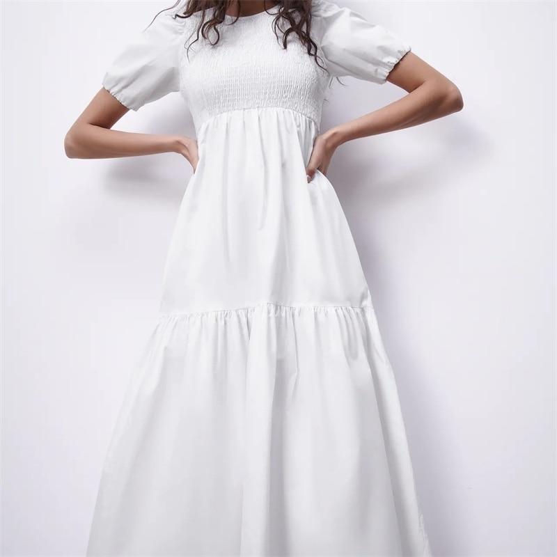 ZXQJ-elegante vestido blanco para Mujer, vestido Midi Vintage con cuello redondo y mangas abombadas, 2021