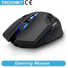 Программируемая игровая беспроводная мышь TeckNet, 2,4 ГГц, светодиодный Раптор с подсветкой, 4800DPI, 8 кнопок, USB, нано приемник, беспроводные мыши