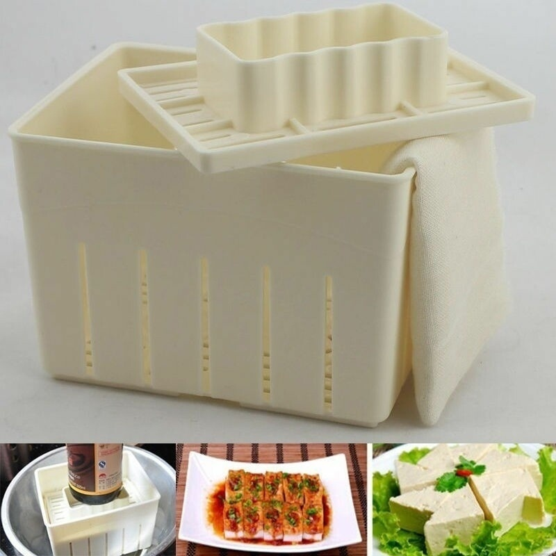 Plastic Tofu Press Mould DIY Homemade Tofu Maker Pressing Mold Kit + Cheese Cloth Kitchen Tool Tofu Mold (Color: Beige)