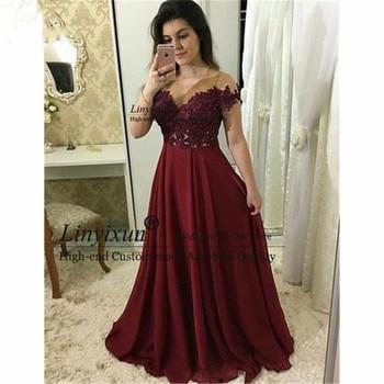 2020 de hombro Borgoña vestido de noche para adolescentes con apliques Vestidos...