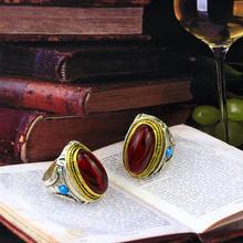 ¡Sunspicems! Anillos Retro bohemios para mujer, piedras naturales Rojas antiguas chapadas en doble Color, joyería Bohemia antigua, regalo para hombres