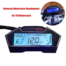 цена на Universal LCD Motorcycle Speedometer Odometer RPM Speed Fuel Gauge 199 Kph Mph DIY Speedometer