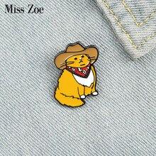 Gato de vaqueiro esmalte pino personalizado engraçado animal chapéu broches camisa lapela saco bonito emblema dos desenhos animados gatinho jóias presente para amigos