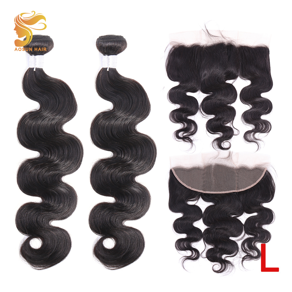 AOSUN HAIR Brazilian Remy Hair Weave Bundles Body Wave With 13X4 Ear To Ear Lace Frontal 100% Human Hair 8-26inch Natural Color