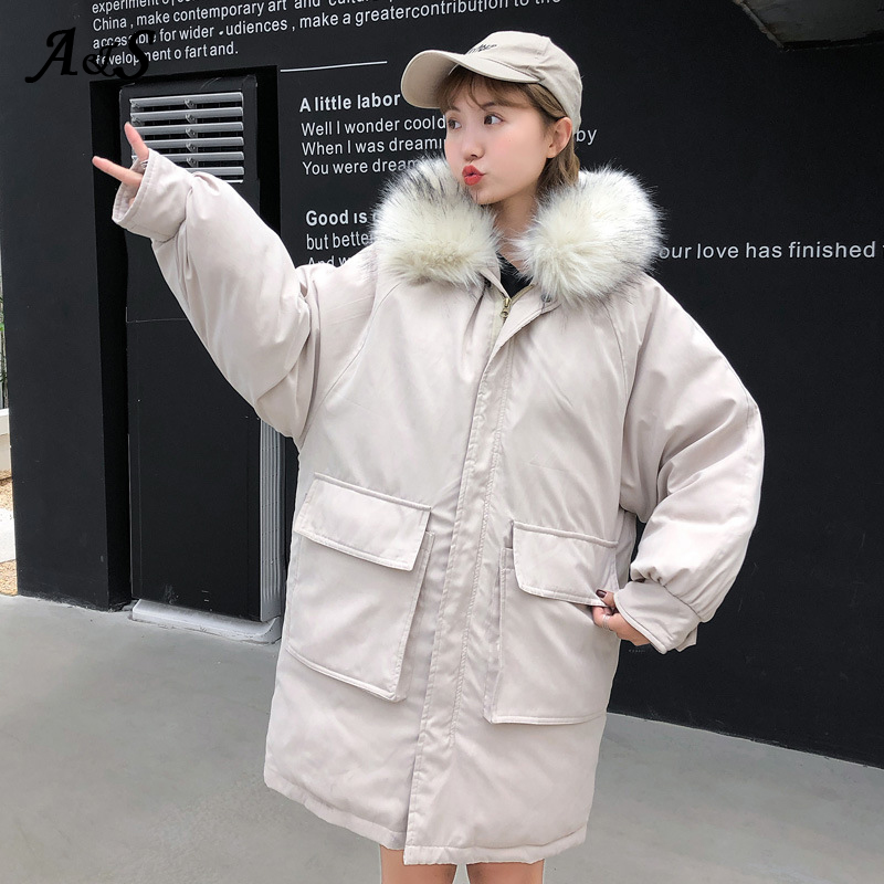 Winter Jacket Women Coat Snow Long Parka Fur Hooded Casual Oversize Woman Winter Coats and Puffer Jackets Padded Parka Mujer